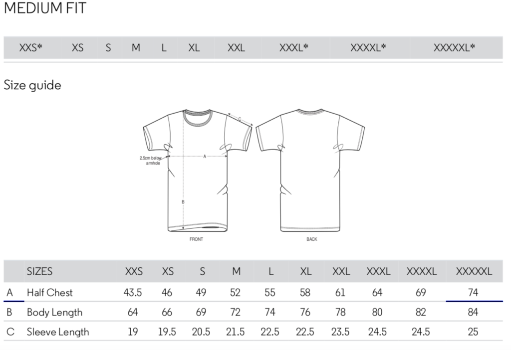 Stanley Stella T-Shirt Size Guide